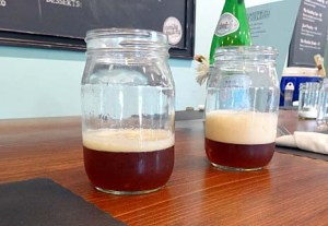 The beers were served in jam jars.
