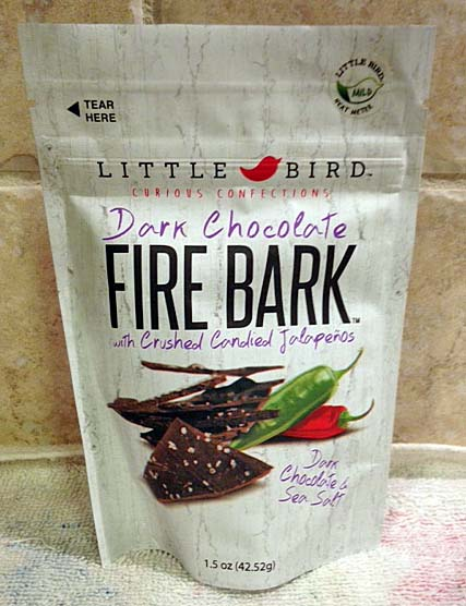 Fire bark consists of finely ground jalapenos that are added to dark chocolate and sprinkled with sea salt.
